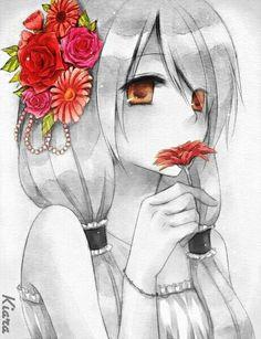 Image via We Heart It #artwork #beautiful #boy #bracelet #browneyes #drawing #dress #edit #fashion #flowers #funny #girl #japanese #kawaii #longhair #manga #monochrome #pigtails #pretty #redflower #roses #sad #sniffing #tears #twintails #hairtie #holdingaflower #cute #anime #mutecolored