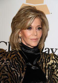 Jane Fonda's Medium Layered Hairstyle ( Jane Fonda – 2016 Clive Davis Pre-Grammy Gala and Salute to Industry Icons Honoring Irving Azoff – Arrivals – The Beverly Hilton Hotel – Beverly Hills, CA, USA) Related: Jane Fonda Hairstyles and Fashion Trends Jane Fonda Hairstyles, Celebrity Hairstyles, Cool Hairstyles, Hairstyle Images, Medium Hair Styles, Curly Hair Styles, Medium Layered Hair, Jane Seymour, Aging Gracefully
