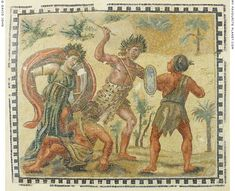 Mosaic emblema depicting Dionysus fighting the Indians at My Favourite Planet