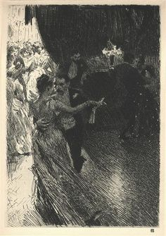 """artist-zorn: """"The Waltz, Anders Zorn Size: cm Medium: etching, paper"""" National Gallery Of Art, National Portrait Gallery, Art Gallery, Sketchbook Drawings, Art Drawings, Sketches, Ouvrages D'art, Inspirational Artwork, Black And White Illustration"""