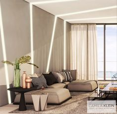 A mescla dos tons monocromáticos para este futuro apartamento em Miami, vem seguindo um olhar emocional de vista para o mar. Projeto por Camila Klein Arquitetura + Interiores #CamilaKleinarquitetura #design #interiores #luminotecnico #conceitual