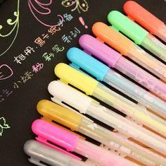 New Arrival! Set of 12 Colorful Gel Pen, candy color Marker pen, black card color pen, Highlighter pen for paper working, scrapbook, wedding