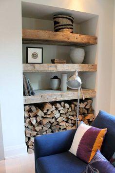 Living Room Wood Burner Firewood Storage Ideas For 2019 Decor, Home Living Room, Interior, Living Room Decor, Home Decor, House Interior, Interior Design, Home And Living, Rustic House