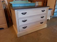 Painted Antique White Distressed And Antiqued Sealed With Wax Top I Couldn T Stain Due To Damage So A Dark Brown Hardware Refinished In An