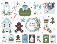 Christmas Clipart - Gingerbreadman, Florals, Tree, Wreath, Cards, Sock, Stamp / holiday clipart / Christmas Clipart / Printables by LokkoGraphicStudio on Etsy
