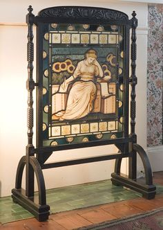 "FIRE SCREEN: Aesthetic Period (C.1880s) glass & ebonized wood/metal frame--Note: sunflowers & woman's figure in ""reform"" dress--(U.K.)"