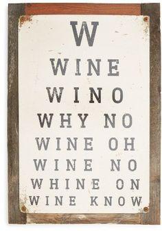 Poncho & Goldstein Wine Eye Chart Sign