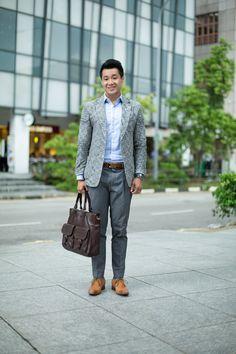 SHENTONISTA: Going Solo. David, Finance, Jacket from Korea, Shoes from Takashimaya. #shentonista #theuniform #singapore #fashion #streetstyle #style #ootd #sgootd #shentonway #wiwt #popular #people #male #menswear #takashimaya