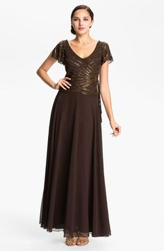 J Kara Embellished V-Neck Bodice Chiffon Gown available at #Nordstrom