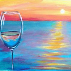Glass Half Full sunset on the beach painting. Chalk Pastel Art, Chalk Pastels, Chalk Art, Wine Painting, Acrylic Painting Canvas, Painting & Drawing, Encaustic Painting, Diy Canvas, Canvas Art