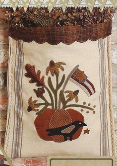 Primitive Folk Art Wool Applique Pattern: by PrimFolkArtShop