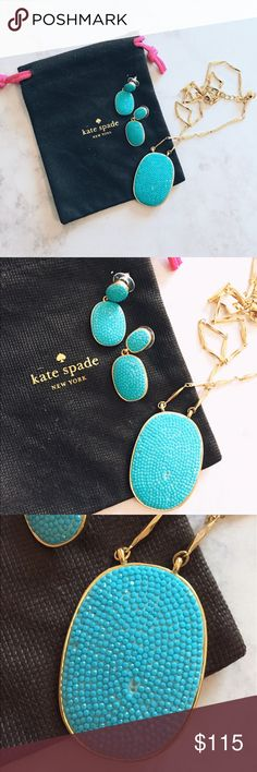 ✨✨Kate Spade Turquoise Set- PLEASE READ✨✨ Both pieces are BRAND NEW. I purchased the pendant already with the 3 missing stones (see picture) to match the earrings, but shortly found out I cannot wear KS earrings due to my allergy! Earrings were worn once with the necklace. I MAY split the pieces, so I will consider that. Price reflects what I paid for the EARRINGS, the necklace is added on to reflect the missing stones, which are really not noticeable! This is a stunning set! Original price…