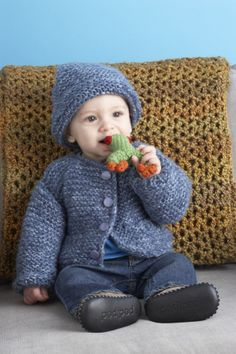 Outdoor playtime just got cuter when your child wears this knit Snuggle Baby Cardigan and Hat set made with Jiffy!