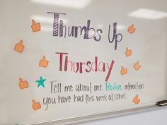 Thumbs Up Thursday Days Of The Week Activities, Morning Activities, Leadership, Morning Board, Daily Writing Prompts, Bell Work, Responsive Classroom, Routine, Question Of The Day