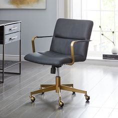 Cooper Mid-Century Office Chair, Leather, Old Saddle Nut at .- Cooper Mid-Century Office Chair, Leather, Old Saddle Nut at West Elm – Office Furniture – Desk Chairs – Seating Furniture 76244 Info: 7885096734 - Used Office Chairs, Luxury Office Chairs, Office Chair Without Wheels, Swivel Office Chair, Home Office Chairs, Home Office Furniture Desk, Cool Furniture, Furniture Ads, Bedroom Furniture