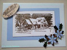 Weihnachtskarte,  nostalgisches,  weihnachtliches Winterdorf,  gestempelt Frame, Handmade, Home Decor, Natal, Stamping, Xmas Cards, Christmas, Crafting, Picture Frame