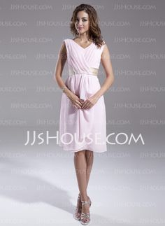 Mother of the Bride Dresses - $121.29 - A-Line/Princess V-neck Knee-Length Chiffon Charmeuse Mother of the Bride Dresses With Ruffle Sash (008015554) http://jjshouse.com/A-line-Princess-V-neck-Knee-length-Chiffon-Charmeuse-Mother-Of-The-Bride-Dresses-With-Ruffle-Sash-008015554-g15554