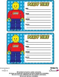 FREE Printable LEGO Building Blocks Birthday Invitation Kids