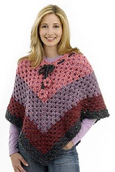 Ravelry: Groovy Granny Poncho pattern by Lion Brand Yarn; When a person says poncho and we are from the this is what comes to mind. Crochet Poncho Patterns, Crochet Shawls And Wraps, Crochet Scarves, Crochet Clothes, Shawl Patterns, Knitted Shawls, Knitting Patterns, Square Patterns, Knitting Yarn