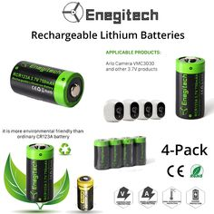 Buy this Enegitech 4 pack rechargeable lithium batteries for Arlo camera, Digital camera, Flashlight, camcorder, electronic toys etc. Log on http://amzn.to/2wdDo6s to place your order. #batteries #rechargeablebatteries #camerabatteries #batteriesfortoys