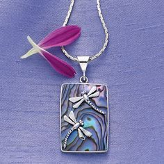 Sterling Silver Abalone Dragonflies Pendant