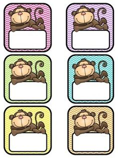Jungle Theme Classroom, Classroom Themes, Free Monkey, School Labels, Cute Clipart, Name Tags, Jungle Animals, School Projects, Cool Ideas