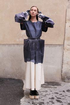 Wearable Art - sculptural dress with 3D folds, disjointed sleeves & landscape print; experimental fashion design // Satu Maaranen