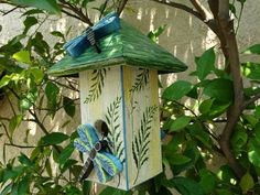 Dragonfly Bird Abode  Painted Handmade by BirdAbodebyJEOhnemus, $58.00