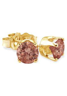 10k Gold Brown Diamond Stud Earrings