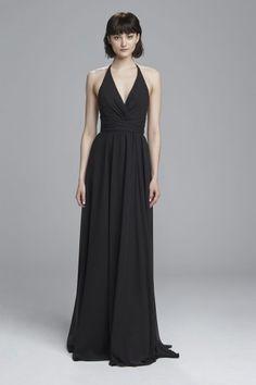 """Jennifer"" - V neck bridesmaids dress with criss cross waist and halter neckline shown in Black"