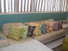 Lots of colorful pillows.