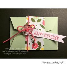 Birthday B.Y.O.P. Gift Card Holder Using Stampin' Up! B.Y.O.P. Stamp Set/ www.stampinwithlinda.com