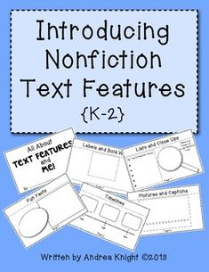 Introduce children to common nonfiction text features such as contents, labels, captions, bold words, lists, timelines, close-ups and more, but in a very personal way... each page is about them!  Fun!  {8 student pages and teacher directions, $}