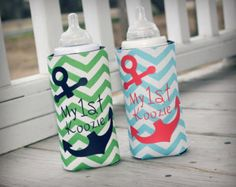 Nautical Chevron Babies My 1st Koozie-Green with Navy Boy and Aqua with Coral Girl