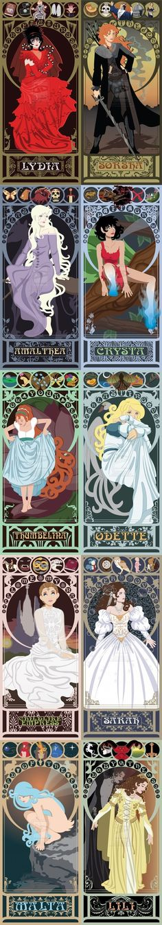 maybe not so much Disney, but some lesser-known princesses, given the Art Nouveau treatment