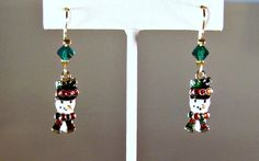 Enamel over Gold Snowman and Crystal Charm by blingbychristine
