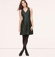 Petite Leopard Jacquard Flare Dress   Loft