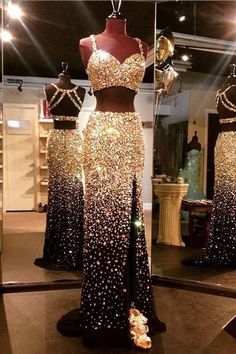 Two Piece Straps Sweep Train Open Back Split-Side Gold Tulle Prom Dress With Beading TP0041
