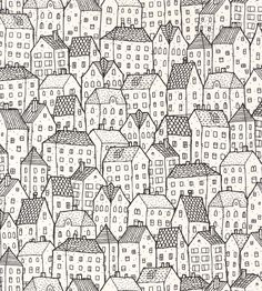 Illustration about City seamless pattern in balck and white is repetitive texture with hand drawn houses. Illustration is in mode. Illustration of house, graphic, black - 36879570 House Colouring Pages, Coloring Books, Coloring Pages, House Sketch, House Drawing, Doodle Patterns, Zentangle Patterns, Cool Patterns To Draw, Zentangles