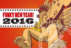 ベースを弾くファンキーな猿イラストの年賀状