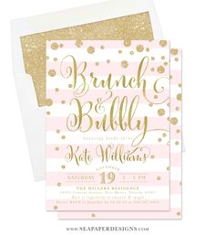 The Kate Brunch & Bubbly invitation features pretty gold lettering, glittery confetti and stripes. It will set the tone for a classy and glam Champagne Brunch Bridal Shower. Matching Mimosa Bar and party items Available.