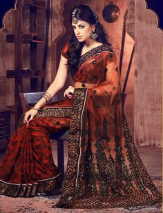 $53.07 Orange Embroidery with Sequins Work Net Saree 26451