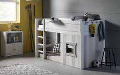 IKEA Kura bed in a rustic kids room - DigsDigs Low Bunk Beds, Toddler Bunk Beds, Kid Beds, Small Boys Bedrooms, Ikea Kids Bedroom, Kids Rooms, Bedroom Hacks, Bedroom Ideas, Kura Bed