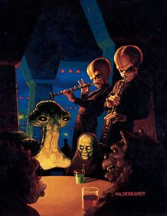 Star Wars Cantina scene. The Hildebrandt Brothers.