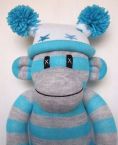 Cheeky grey and turquoise striped Sock Monkey with by Sunsetgirl