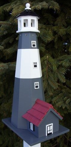 Tybee Lighthouse Birdhouse - White With Grey Stripes