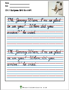 Copywork For Burgess Bird Book Homeschool