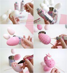 deco oeuf de paques en polystyrene rose dessins peinture acrylique marqueur papillons papier #Easter #Egg