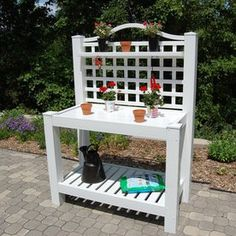 WHAT'S INCLUDED: Bench The Berkshire Potting Bench keeps its nice looking white shiny finish year round. This Dura-Trel Potting Bench features a countertop workstation for gardeners. Made out of PVC vinyl, it is easy to Outdoor Potting Bench, Potting Tables, Outdoor Pallet, Outdoor Decor, Outdoor Bars, Outdoor Benches, Outdoor Landscaping, Diy Pallet, Pallet Ideas