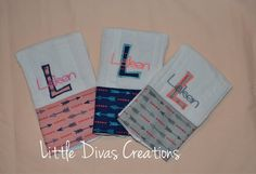 Set of three personalized burp cloths by LittleDivasCreations